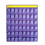 48 Pockets Numbered Classroom Pocket Chart Wall Hanging Organizer Holder Door Hangers Oxford Cloth Storage Sundries Closet Space Saver with 4 Metal Hooks for Cell Phones Calculator (Purple)