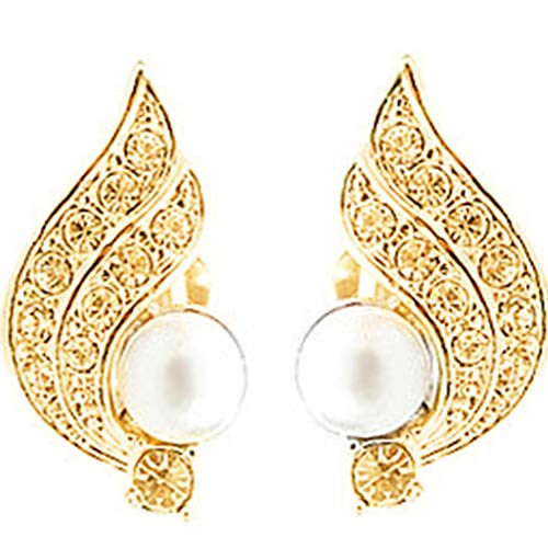 GloryMM Wings Ear Clips Faux Pearl Crystal Clamp Earrings Round Shape Beads Rhinestone Studs Earirngs,Gold