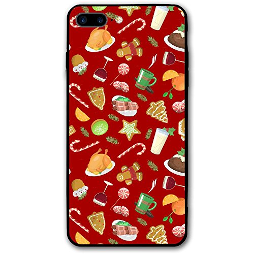 5.5 Inch Iphone 8 Plus Case Christmas Food Turkey Fruit Elements Anti-Scratch Shock Proof Hard PC Protective Case Cover