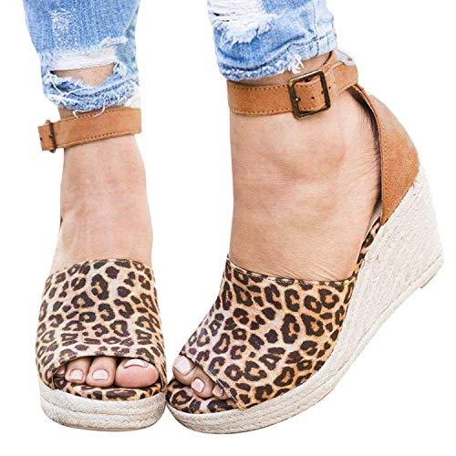 Plateforme Cuir Lanière Suédé Boucle Espadrille Mode Chaussures Minetom Été Tongs Cheville Femmes Talon Léopard Tréssé Compensé Corde Sandale Sandales wa4xnPqxZ