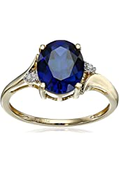 10k Yellow Gold Created Sapphire and Diamond Accent Ring, Size 7
