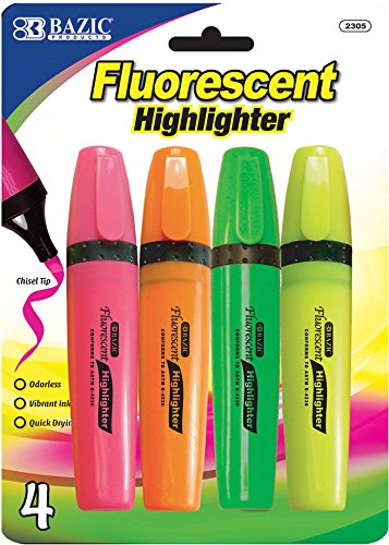 Fluorescent Highlighters with Pocket Clip - 4/Pack 144 pcs sku# 344882MA