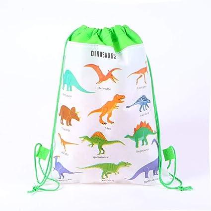 ABYED Bolsillo con cordón de Dinosaurio de Tela no Tejida Bolsa de Regalo para Fiestas y el año, Paquete Contiene 12 Unidades