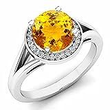 14K White Gold Citrine & White Diamond Halo Style Bridal Engagement Ring (Size 7)