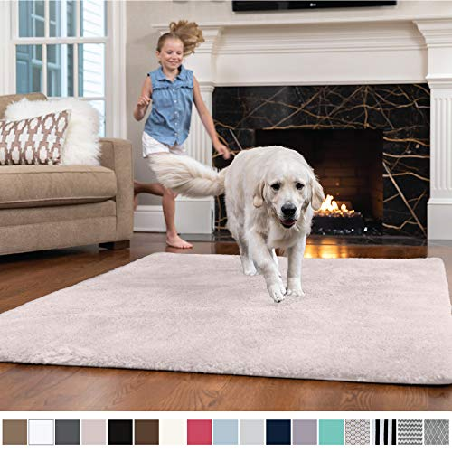 GORILLA GRIP Original Faux-Chinchilla Nursery Area Rug, (4' x 6') Super Soft & Cozy High Pile Machine Washable Carpet, Modern Rugs for Floor, Luxury Shag Carpets for Home Bed/Living Room (Light Pink)