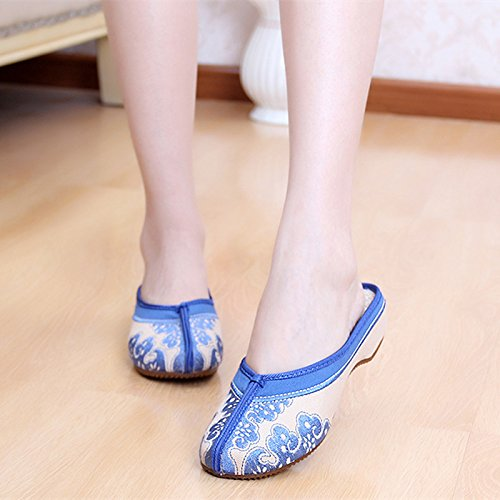 Embroidered Blue Shoes wedge Women Leisure Home Shoes dORfqWwx0