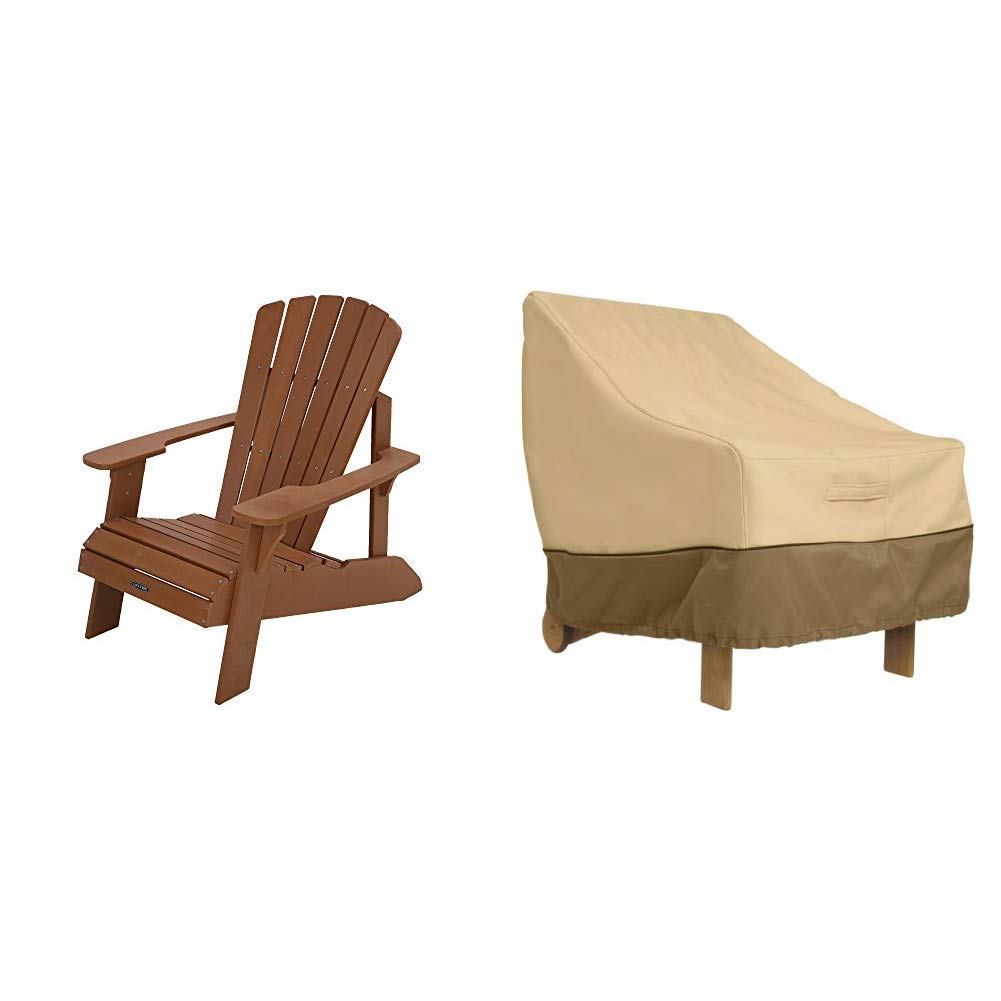 Lifetime Faux Wood Adirondack Chair, Brown with Classic Accessories Veranda Adirondack Patio Chair Cover - Durable and Water Resistant Outdoor Chair Cover, Standard