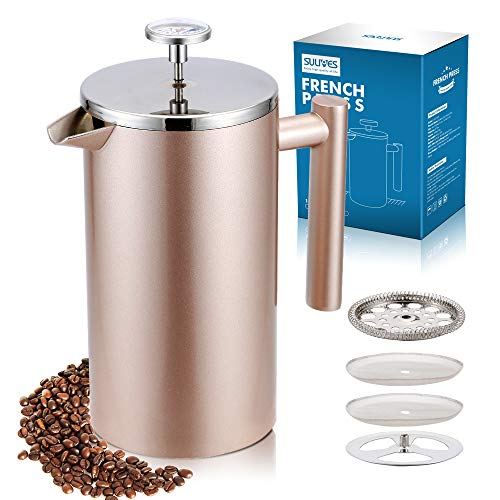 SULIVES Large Stainless Steel French Press Coffee Maker Double Wall Vacuum Insulated Stainless Steel- 34oz/ 1000ml (Champagne Gold)