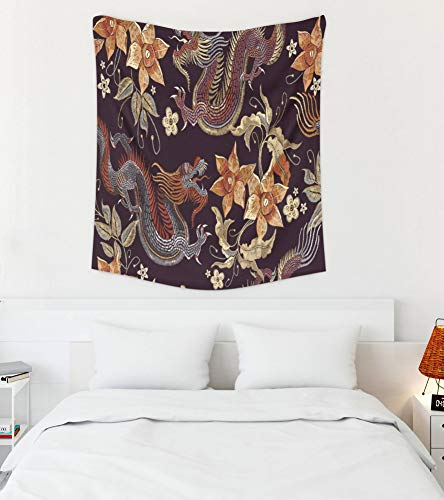 Asdecmoly WallTapestryforBedroomPeony, Art Tapestry Living Room and Bedroom 50 Lx60 W Inches Embroidery Dragons Flowers Pattern Classical Embroidery Asian Dragon Beautiful Art Printing Inhouse