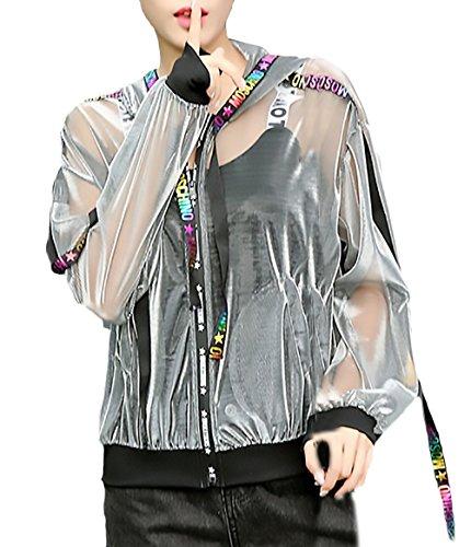Verano Casual Proteccion Fino Baseball Mujer Jacket Bastante Vintage Solar Cortos Estilo Moderno Manga Abrigos con Elegantes Moda Silver Joven Outwear Encapuchado Outerwear Splice Chaqueta Cremallera Larga qwEIgZTx