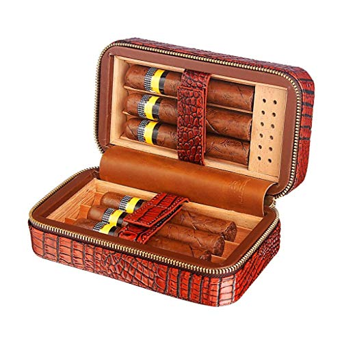 HYZXJHE Cigar Box, Cedar Wood Lining Humidifier Easy to Carry and Can Accommodate 6 Leather Cigar Box by HYZXJHE (Image #5)