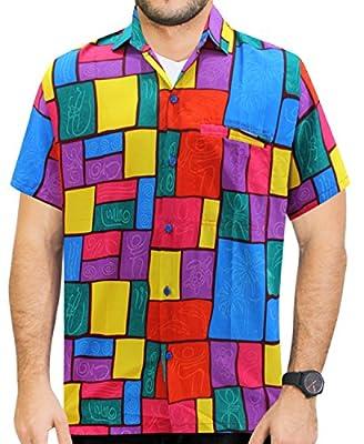La Leela Hawaiian Shirt For Men Short Sleeve Front-Pocket Printed Hawaii Purple