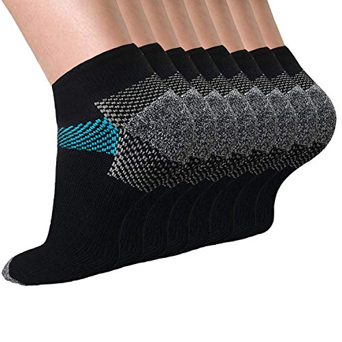 Men's Low Cut Athletic Running Socks 3 to 8 Pack Cushion No Show Tab Socks (D - Black&Blue 8 Pairs, Large)
