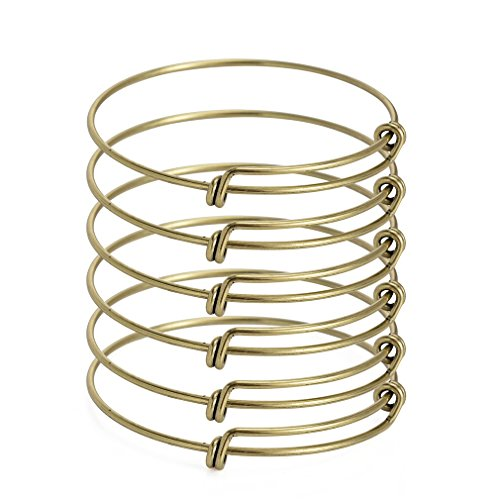 ZX Jewelry 6pcs Mens Expandable Blank Bangle Adjustable Wire Bracelet for Jewelry Making 2.6inch