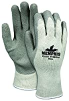 Memphis Glove 9690L Flex-Therm Heavy Weight Cotton/Polyester Shell Men's Gloves with Latex Dipped Palm and Fingertips, Gray, Large
