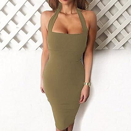 6715e3b67b36 Amazon.com  Dolland Women Sexy Sleeveless Bodycon Dress Bandage Backless  Stap Club Dress