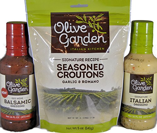 Olive Garden Croutons 5oz, Signature 16oz & Red Wine Balsamic 16oz Salad Dress Kit