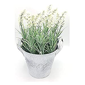 LODESTAR Artificial Fake Lavender Flower Bouquet in Rustic Can Metal Basket Indoor Outdoor Home Decoration 2