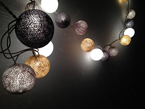 Earth Brown Tone cotton ball string lights for Kids party, Paty,Wedding, Christmas Lights, Party Lights, Fairy Light and Decoration, fairy lights/ Battery AA LED 25 lights by Thai Decorated