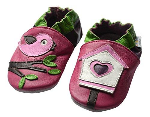 Jinwood designed by amsomo 12 Verschiedene Modelle - Mädchen - Hausschuhe - Lederpuschen - Krabbelschuhe - Soft Sole/Mini Shoes DIV. Groeßen 17/19-35/36 bird house soft sole
