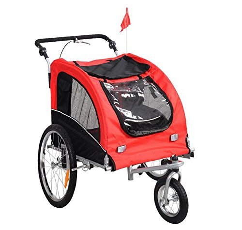 Best Choice Products 2 in 1 Pet Dog Bike Trailer Bicycle Trailer Stroller Jogging w/Suspension Red