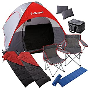 Villimetsa 【10点セット】 テント 折り畳みチェア 寝袋 クッションマット 枕 保冷バック 4~5人用