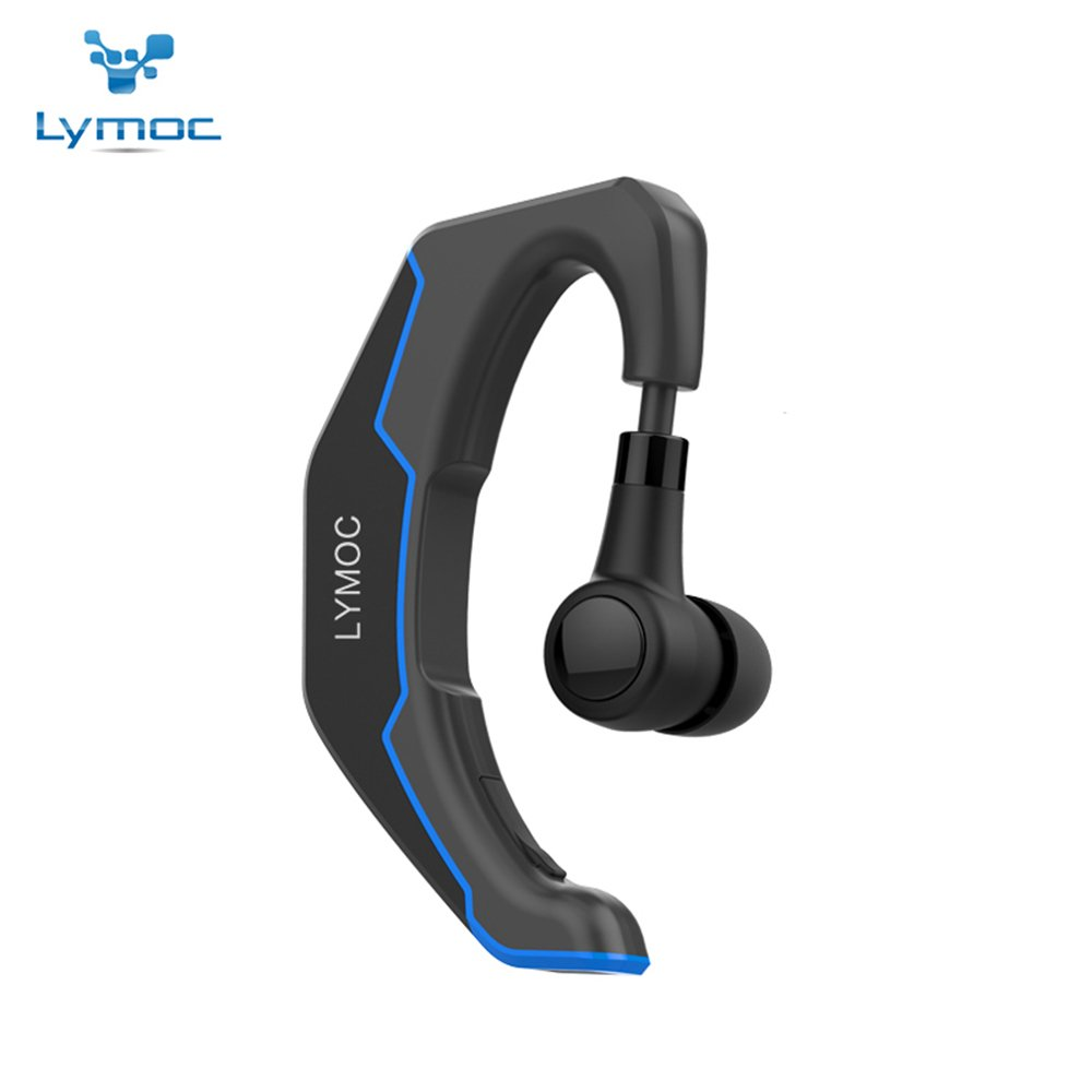 LYMOC Bluetooth Wireless Headset Ear Hooks Earphones Noise Cancelling in-Ear Earbuds with Mic Compatible for Android All Phones for Business Office Driving Black Blue