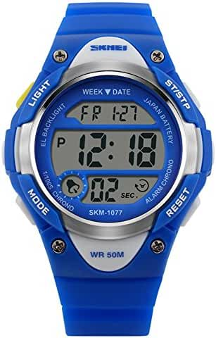 Novelty Digital Kids Watch Outdoor Sports Children's Waterproof Wrist Dress Watch With LED Digital Alarm Stopwatch Lightweight Silicone Blue