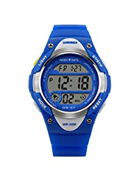 Novelty Digital Kids Watch Outdoor Sports Children's Waterproof Wrist Dress Watch With LED Digital Alarm Stopwatch Lightweight Silicone Blue
