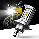 AUXITO H4 9003-Motorcycle-LED-Headlight-Bulb Hi/Lo Beam Light Conversion Kit with Super Bright SEOUL CSP Y19 LED Chips Specially Designed for Motorbike Headlamp - Single Bulb 6500K White