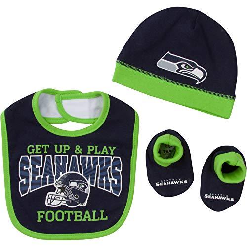 - NFL Seattle Seahawks Unisex-Baby Cap, Bootie & Bib Set, Blue, 0-6 Months