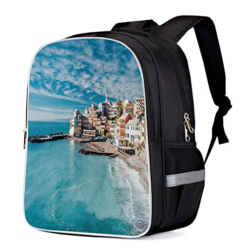 Laptop Backpack,Casual Daypacks Slim Durable Water Resistant Computer Bag for College Student Women Men,Panorama of Old Italian Fishing Village Beach in Old Province Coastal Charm Image 13 Inch ()