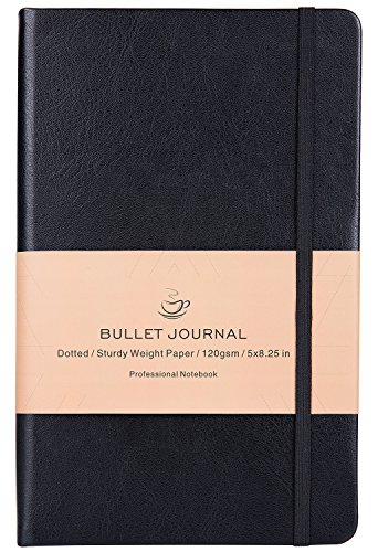 Bullet Journal - Dot Grid Hard Cover Notebook, Premium Thick Paper with Fine Inner Pocket, Black Smooth Faux Leather, 5''×8.25''