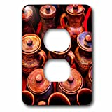 3dRose Alexis Photography - Objects - Group of brown ceramic jars. Stylized photo - Light Switch Covers - 2 plug outlet cover (lsp_270808_6)