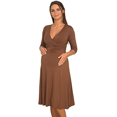 8c6b76bc52b94 Women s 3 4 Sleeve Stretch Summer Maternity Dress V Neck Dress WM02 ...