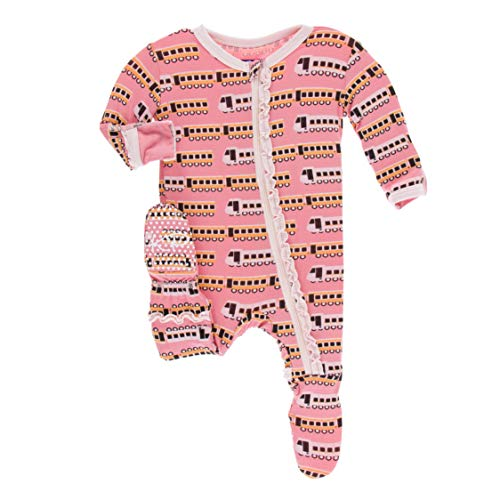 KicKee Pants Print Muffin Ruffle Footie with Zipper in Desert Rose Indian Train, 9-12 Months ()