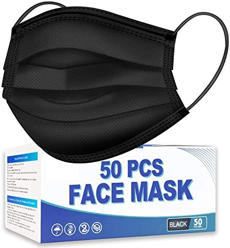 Hotodeal 50 Pcs Black Disposable Face Masks, Breathable Face Mask 3 Ply Mask