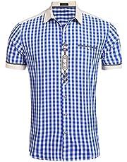 Burlady Trachten Hemd Karriert Slim fit Herren Freizeithemd Karohemd holzfäller Hemden männer Checked Shirt