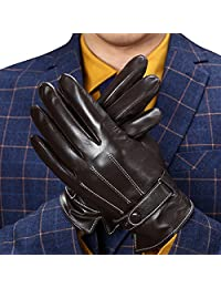Pishon Men's Genuine Leather Touchscreen Texting Winter Warm Fleece Lined Gloves