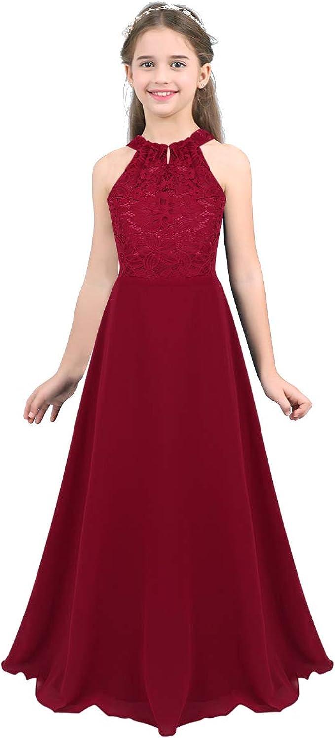 TiaoBug Mädchen Kleid Kinder festlich Spitzen langes Kleid Hochzeit  Partykleid Blumenmädchenkleid 10 10 10 10 10 10