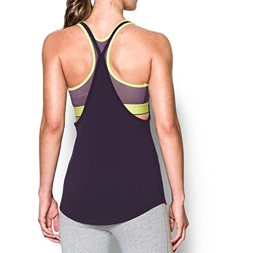 Under Armour Women's HeatGear Armour Printed 2-in-1 Tank, Imperial Purple/Pale Moonlight, Medium