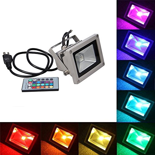 NEWSTYLE 10W RGB Waterproof LED FloodLight 16 Different Color Tones with US 3-Plug & Remote Control For Outdoor Hotel Garden (3 Floodlight)
