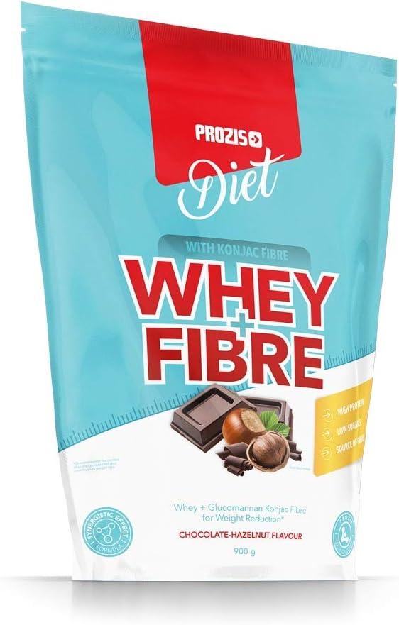 Prozis Whey + Fibre 900 g Chocolate y avellanas Ideal Para Dietas De Pérdida De Peso Sabores Deliciosos Bajo En Azúcares Y Fuente De Fibra Favorece La ...