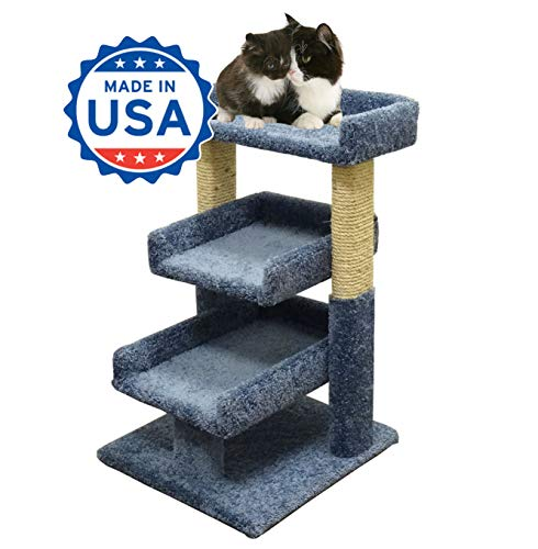 - CozyCatFurniture 3 Tier Mini Cat Tree, Solid Wood Poles, Made in USA, 2 Scratching Posts, Blue Carpet
