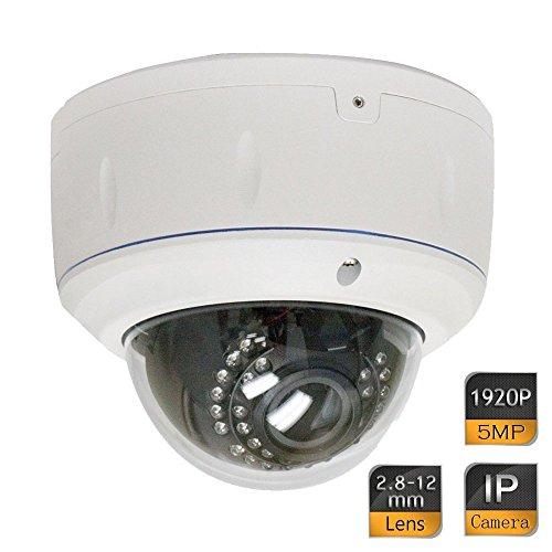 GW Security 5 Megapixel 2592 x 1920 Pixel Super HD 1920P Outdoor Indoor Network PoE Power Over Ethernet 1080P Security IP Camera with 2.8-12mm Varifocal Zoom Len (Outdoor Security Camera 1080p)