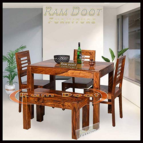 Ramdoot Furniture Solid Sheesham Teak Wood Wooden Dining Table 4 Seater   Dining Table Set with 3 Chairs & 1 Bench…