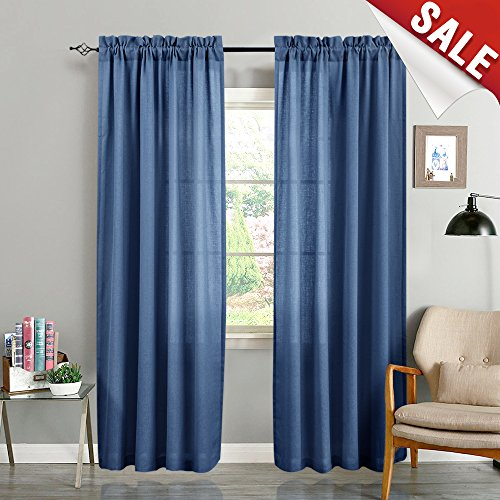 Privacy Drapes Curtains for Bedroom Window Curtain Set Casual Weave Textured Sheers for Living Room 84 inch Length Semi Sheer Rod Pocket Curtain Panels, Pack of 2, Royal Blue)