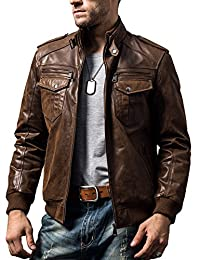 FLAVOR Men's Leather Motorcycle Jacket Genuine Pigskin Vintage Brown