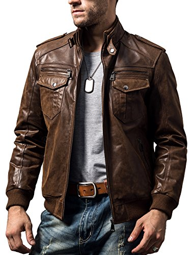 Retro Leather Collar - FLAVOR Men Biker Retro Brown Leather Motorcycle Jacket Genuine Leather Jacket (Medium(US Standard), Brown)