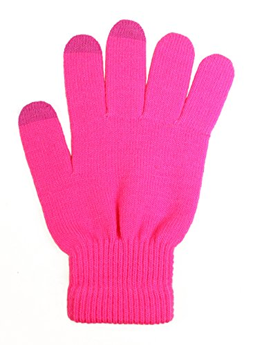 LL- Winter Touch Screen Gloves for Smartphone Texting Knit Magic Gloves One Size (Hot Pink) (1 Magic Gloves)